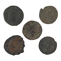 Ancient Coins Roman Artifacts Figural Mixed Lot of 5 B8166