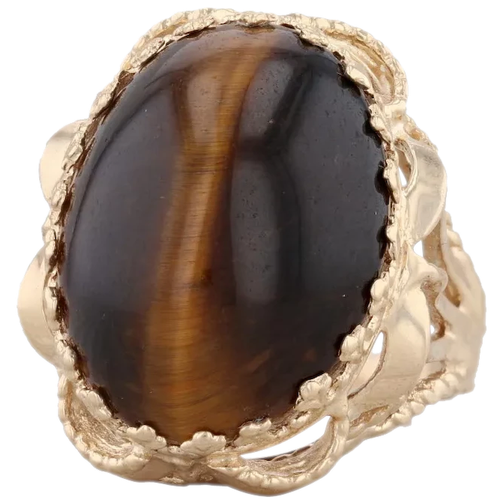 FREE Shipping Size 7 34 Large Bold Vintage Sterling Silver Brown Tiger/'s Eye  Cat/'s Eye SCARAB Cocktail Statement Ring US