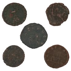 Ancient Coins Roman Artifacts Figural Mixed Lot of 5 B8219