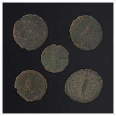 Ancient Coins Roman Artifacts Figural Mixed Lot of 5 B8222