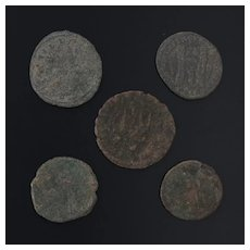 Ancient Coins Roman Artifacts Figural Mixed Lot of 5 B8224