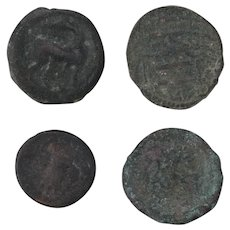 Ancient Coins Roman Artifacts Figural Mixed Lot of 4 B8227