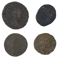 Ancient Coins Roman Artifacts Figural Mixed Lot of 4 B8229