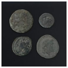 Ancient Coins Roman Artifacts Figural Mixed Lot of 4 B8230