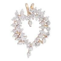 Diamond Wreath Heart Pendant 14k Yellow Gold Open Heart Drop