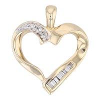 Diamond Heart Pendant 14k Yellow Gold Open Heart Drop