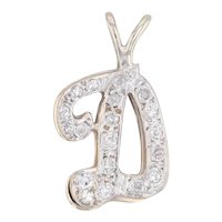"0.21ctw Diamond Initial ""D"" Pendant 14k Yellow White Gold Letter Jewelry"