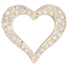 0.36ctw Diamond Heart Pendant 14k Yellow Gold Floating Open Heart