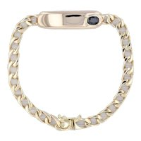 """Engravable ID Bracelet 14k Yellow Gold Blue Sapphire Curb Chain 8"""" Men's"""