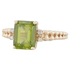 3.03ctw Peridot Diamond Ring 10k Yellow Gold Size 8 Emerald Cut Solitaire