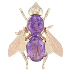 Renard 6.48ctw Amethyst Diamond Fly Brooch 14k Yellow Gold Designer Insect Pin