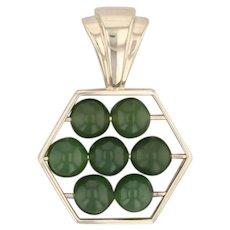 Green Nephrite Jade Bead Abacus Pendant 14k Yellow Gold