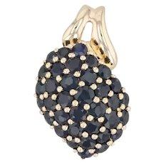 2.25ctw Blue Sapphire Cluster Pendant 14k Yellow Gold Pave Gemstone Drop