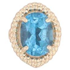 Richard Glatter Vintage 1.50ct Blue Topaz Slide Charm 14k Yellow Gold