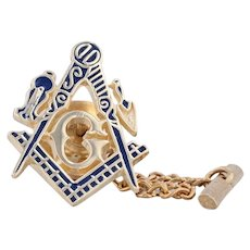 Masonic Tie Tac Pin 10k Yellow Gold Enamel Square Compass G Insignia