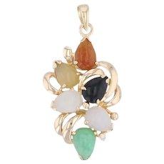 Colorful Jadeite Jade Cluster Pendant 14k Yellow Gold Diamond Accent