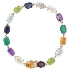 "Colorful Gemstone Tennis Bracelet 14k Gold 7"" Peridot Citrine Amethyst Sapphire"