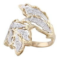 Diamond Leaf Bypass Ring 14k Yellow Gold Size 6 Cocktail