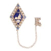 Sigma Alpha Epsilon Badge SAE Pearl 10k Gold Pearls Sapphires Fraternity Pin