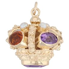 Gemstone Crown Pendant Fob 18k Yellow Gold Amethyst Citrine Pearl Statement
