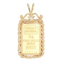 Diamond Credit Suisse Gold Bar Pendant 14k Frame 999 Bar 5 g Swiss New with COA
