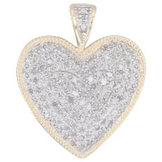 1ctw Pave Diamond Heart Pendant 14k Yellow White Gold