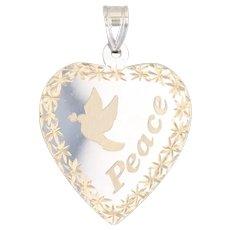Peace Dove Heart Pendant 14k Yellow White Gold Engravable Religious