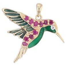Gemstone Hummingbird Pendant 14k Yellow Gold Ruby Diamond Green Resin