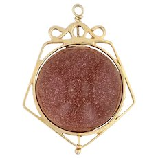 Spinning Goldstone Bead Charm Fob 10k Yellow Gold Vintage Glass