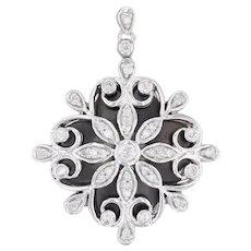 0.70ctw Diamond Flower Pendant 10k White Gold Floral Drop