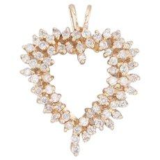 0.97ctw Diamond Cluster Heart Pendant 14k Yellow Gold Open Heart