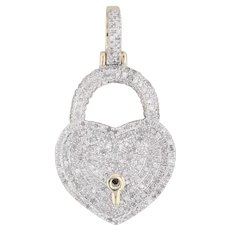 0.48ctw Pave Diamond Heart Lock Pendant 10k Gold Statement