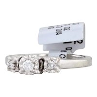 New Diamond Engagement Ring 10k White Gold Size 6.75 Round Brilliant 3-Stone