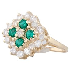 1.18ctw Synthetic Emerald Diamond Halo Ring 14k Yellow Gold Size 6.25