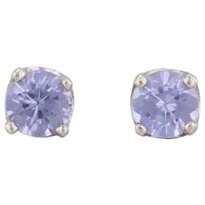 0.60ctw Synthetic Color Change Sapphire Stud Earrings 14k White Gold Solitaire
