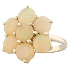 Synthetic Opal Cluster Ring 10k Yellow Gold Size 7 Cocktail Flower