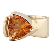 Orange Citrine Solitaire Ring 14k Yellow Gold Size 6.25 Cocktail Statement