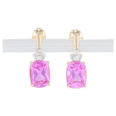 3.76ctw Synthetic Pink Sapphire Diamond Drop Earrings 14k Yellow Gold Pierced