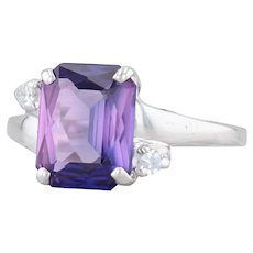 3.55ct Synthetic Purple Sapphire Solitaire Ring 10k White Gold Size 7 Diamonds