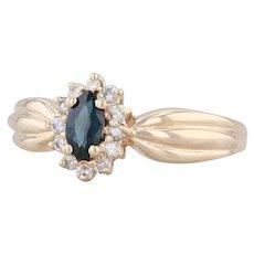 0.49ctw Blue Sapphire White Diamond Halo Ring 14k Yellow Gold Size 8