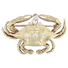 0.25ctw Diamond Crab Brooch 14k 18k Yellow Gold Nautical Pin