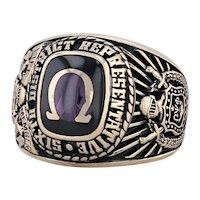 Omega Psi Phi Fraternity Ring 10k Gold Size 10.5 Life Member Representative