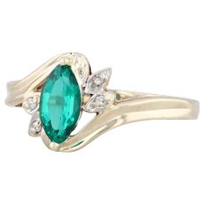 0.55ctw Synthetic Emerald Diamond Ring 10k Yellow Gold Sz 6.5 Marquise Solitaire