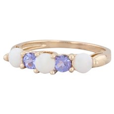 Tanzanite Synthetic Opal Ring 14k Yellow Gold Size 7.25 Stackable Gemstone Band