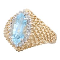 2.57ctw Blue Topaz Diamond Halo Lattice Work Ring 14k Yellow Gold Size 8