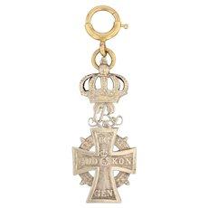Order of the Dannebrog Crown Cross Fob 12k Gold Vintage Fraternal Keepsake