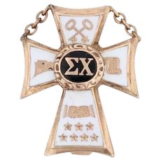 Sigma Chi Cross Badge 10k Yellow Gold Vintage Greek Fraternity Pin Balfour