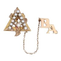 Alpha Gamma Delta Pin 10k Yellow Gold Pearls Sorority Badge with Guard