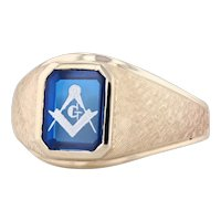 Masonic Signet Ring Blue Synthetic Spinel 10k Yellow Gold Sz 12.5 Square Compass