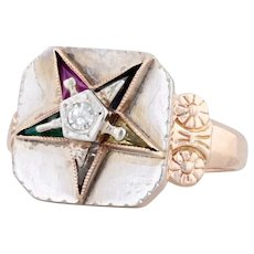 Vintage Order of the Eastern Star Ring 10k Gold Diamond Size 5.5 OES Masonic